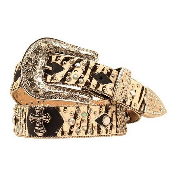 Nocona Western Belt Womens Hair Zebra Diamond Black Tan