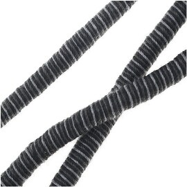 Knitted Cotton Cord, Round Wrapped Strands 5mm Thick, 3 Feet, Black / Grey