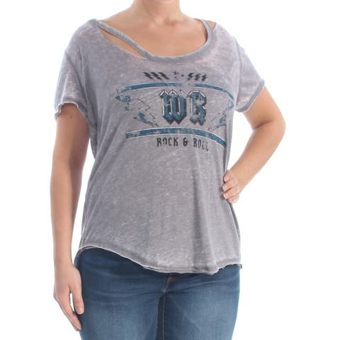 WILLIAM RAST Womens Gray Cut Out Printed Rock & Roll Short Sleeve Scoop Neck T-Shirt Top Size: L