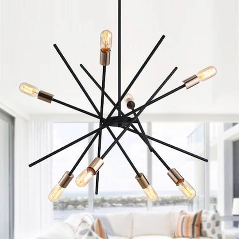 Industrial 8-Light Black Matel Sputnik Chandelier