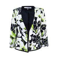 Kasper Women's Floral-Print Blazer - honeydew multi