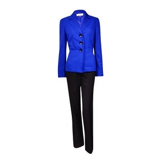 Le Suit Women's Cannes Crepe 3-Button Pant Suit (4, Royal/Black)