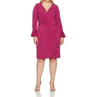 London Times Purple Womens Size 14W Plus Belted Sheath Dress