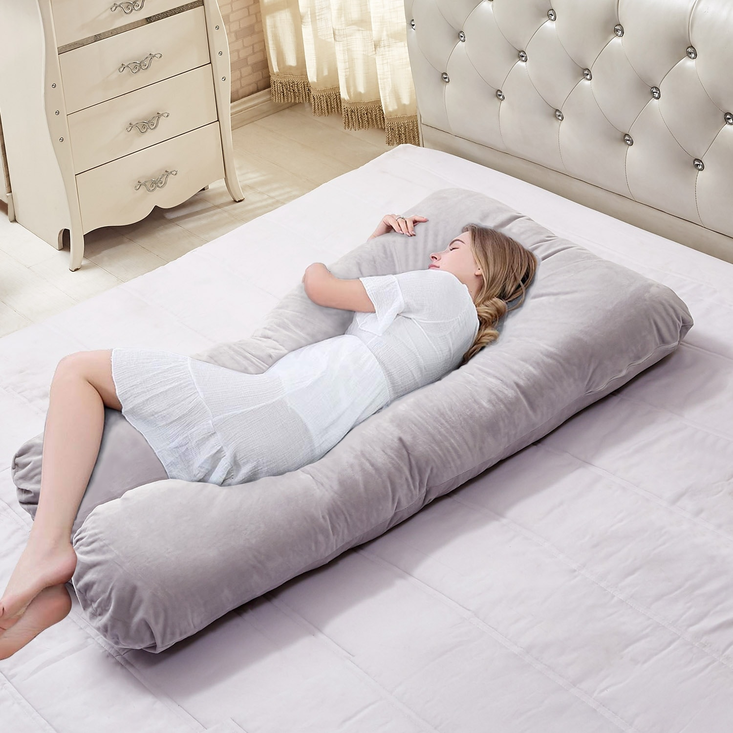 White Bolster Pillow//Maternity Pillow With Free Cover Full Body Support