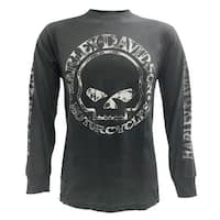 Harley-Davidson Men's Willie G Skull Long Sleeve T-Shirt Tee Charcoal 30296652
