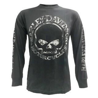 Harley-Davidson Men's Willie G Skull Long Sleeve T-Shirt Tee Charcoal 30296652