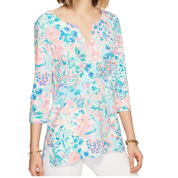 7be8143b603421 Shop Lilly Pulitzer Blue Women s Size Small S 3 4 Sleeve Tunic Top - Free  Shipping Today - Overstock - 28037465