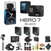 GoPro HERO7 Black Action Camera With 2 Extra Battery, 64GB Memory Card, Case, Floating Strap, and More - 3 Battery Bundle