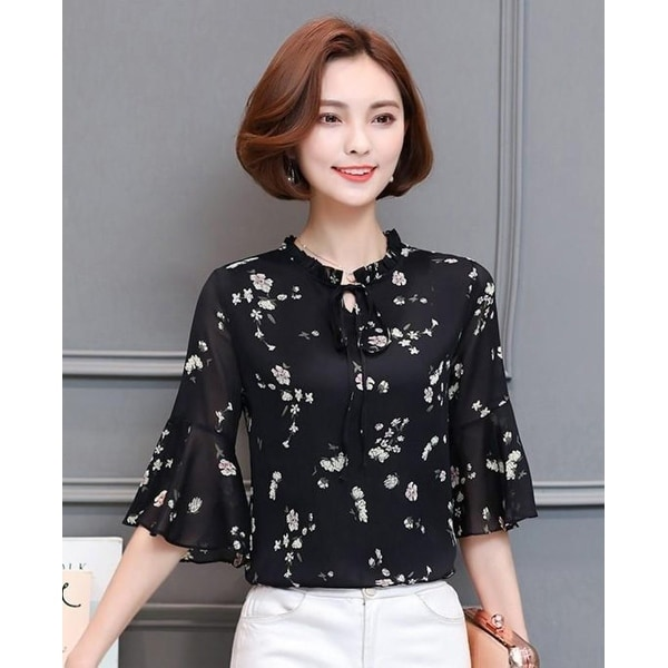 8f701199875f72 Shop Summer Chiffon Bell Sleeve Top - Black - S - Free Shipping On Orders  Over $45 - Overstock - 24112669