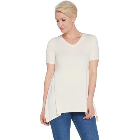 LOGO by Lori Goldstein Womens Jersey V-neck Top Rib Small Cloud Cream A305489