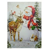 """LED Lighted Vintage Inspired Snowman and Reindeer Christmas Canvas Wall Art 15.75"""" x 12"""" - White"""