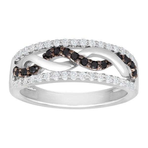 1/2 ct Black & White Diamond Wave Band Ring in Sterling Silver