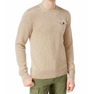 Tommy Hilfiger NEW Beige Mens Size XL Military Crewneck Cotton Sweater