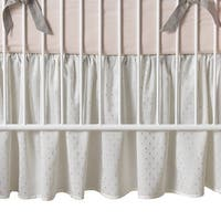 Lambs & Ivy Signature Mix & Match White with Silver Metallic Sparkle Baby Crib Skirt