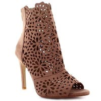 Ceresnia Adult Beige In-Caged Floral Cut Out High Heeled Sandals