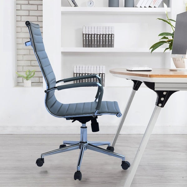 Executive Ergonomic High Back Modern Office Chair Ribbed PU Leather Swivel for Manager Conference Computer Room. Opens flyout.