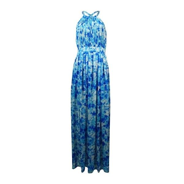 Calvin Klein Women's Printed Chiffon Halter Maxi Dress - adriatic blue multi