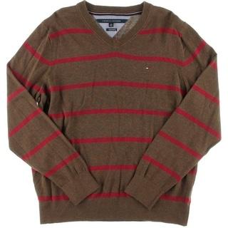 Tommy Hilfiger Mens Pima Cotton Striped V-Neck Sweater