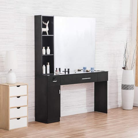Wall Mount Table Beauty Makeup Hair Salon Styling Station w/Mirror - Black