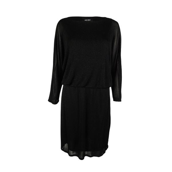 Shop Nine West Womens 34 Sleeve Shimmer Mesh Dress Black Free