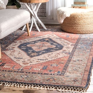 nuLOOM Multi Flatweave Handmade Vintage Ornamental Faded Border Area Rug