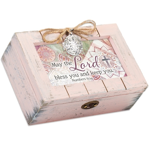 "6"" Baby Pink and White Distressed Rectangular Pallet Locket Music Box - N/A"