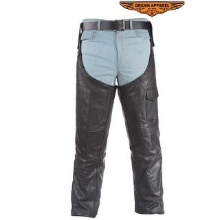 Motorcycle Leather Chaps - Size - L