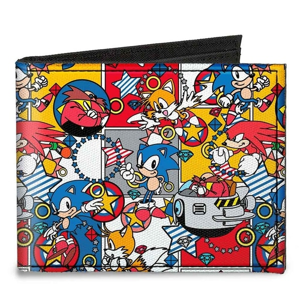 "Doctor Eggman I ""Heart"" 2 Pollute + Flying Egg Mobile Black Red Canvas Bi Canvas Bi-Fold Wallet One Size - One Size Fits most"