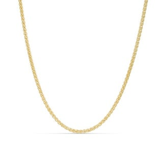MCS JEWELRY INC 14 KARAT YELLOW GOLD SOLID ROUND WHEAT CHAIN NECKLACE (2.1MM)