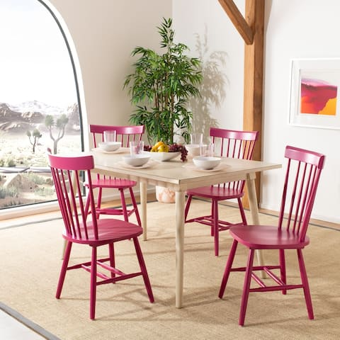 """SAFAVIEH Dining Country Lifestyle Spindle Back Raspberry Dining Chairs (Set of 2) - 20.5"""" x 21"""" x 36"""""""