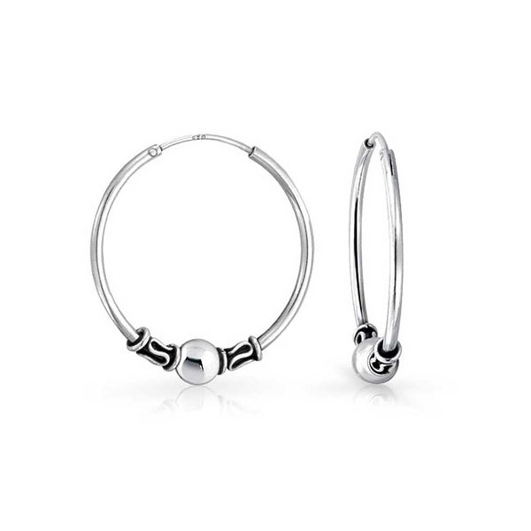31bbf24e3 Bali Style Tribal Ball Bead Continuous Endless Round Hoop Earrings For  Women Oxidized 925 Sterling Silver