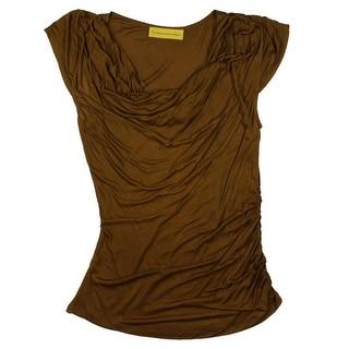 Catherine Malandrino Womens Drape Neck Cap Sleeves Casual Top - S