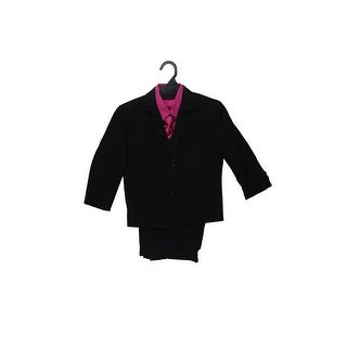 Wallao Boys Formal Suit with Fuchsia Shirt and Vest Black