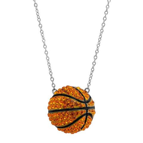 Crystaluxe Basketball Pendant with Swarovski Crystals in Sterling Silver - Orange