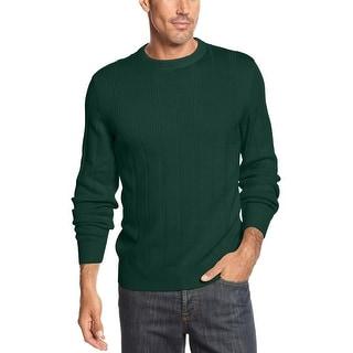John Ashford Ribbed Cotton Crewneck Sweater Myrtle Green Solid Large L
