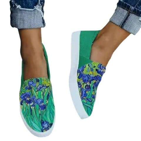 Large Size Women's Shoes Snakeskin Stitching Printed Flat Canvas Shoes