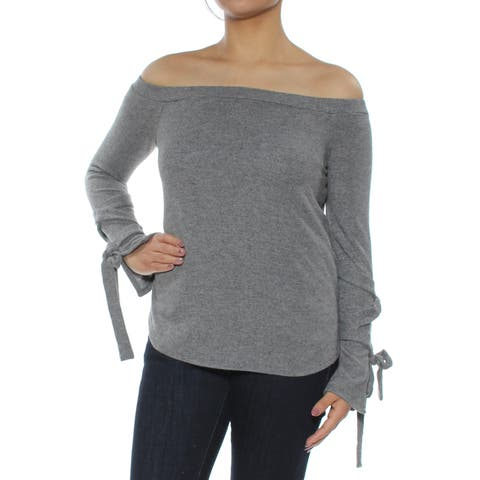 1. STATE Womens Gray Tie-sleeve Off Shoulder Top Size: L