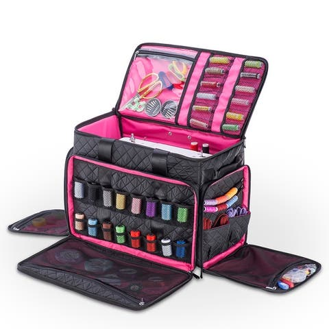 DeNOA Rolling Arts & Crafts Tote Bag w/ Sewing Machine Storage Pouches