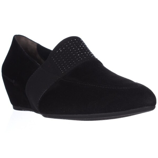 Paul Green Dazzle Studded Wedge Loafers, Black Suede