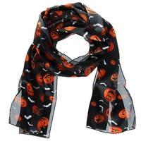 CTM® Women's Halloween Holiday Bat and Pumpkin Print Lightweight Scarf - One size