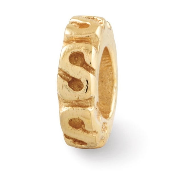 Sterling Silver Reflections Gold-plated Swirl Spacer Bead (4mm Diameter Hole)