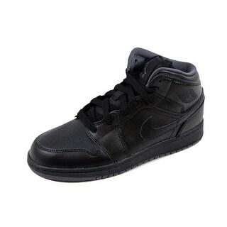 Nike Grade-School Air Jordan I 1 Mid BG Obsidian/Metallic Silver-Cool Grey-Wolf Grey 554725-021