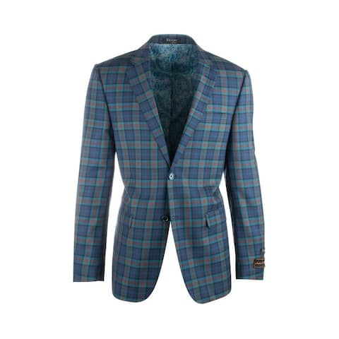 Sangria Blue with Orange and Turqouise Plaid Pure Wool Jacket by Tiglio Luxe