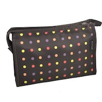 Unique Bargains Polka Dot Portable Zippered Cosmetic Bag Organizer for Travel Storage Makeup Brown Women Lady w Mirror