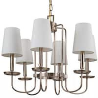 "Park Harbor PHHL6056 Rich Antique Brass Fielding 25"" Wide 6 Light Single Tier Shaded Style Chandelier with Tapered Shades"