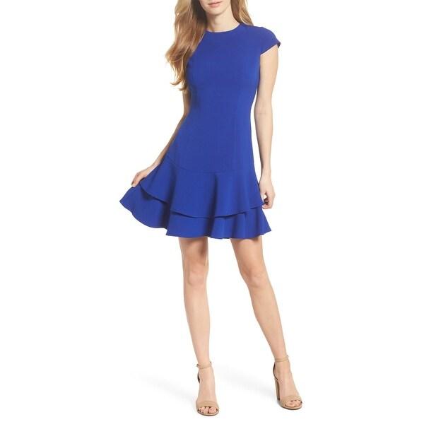 Eliza J Blue Women's Size 18 Ruffle A-Line Crepe Sheath Dress