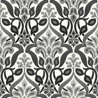 Brewster 2535-20648 Fusion Black Ombre Damask Wallpaper