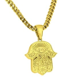 Custom Made Mens Hamsa Hand Pendant 18K Yellow Gold Tone Free Stainless Steel Franco Chain 24 Inch