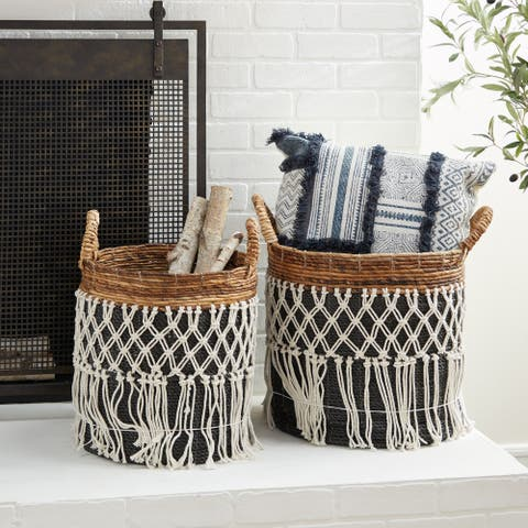 Black Banana Leaf Natural Storage Basket (Set of 2) - 17 x 16 x 19