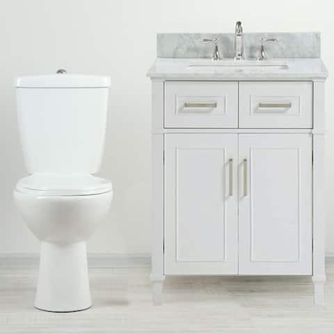 "30"" Freestanding White Bathroom Vanity with Carrara Marble Top"